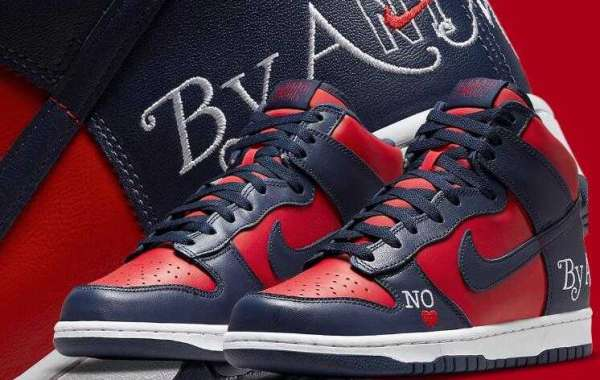 """The Supreme x Nike SB Dunk High """"By Any Means"""" In Navy Red"""